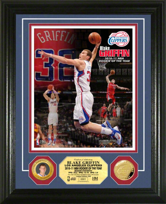 Blake Griffin Los Ajeles Clippers 2010-11 Nba Rookie Of The Year 24kt Gold Coin Photo Mint