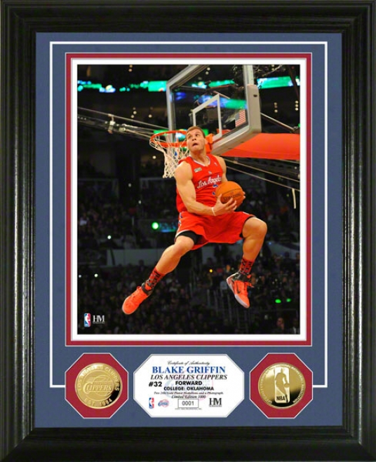 Blake Griffin Lks Angeles Cluppers 2011 Slam Dunk Contest 24kt Gold Coin Photo Mint