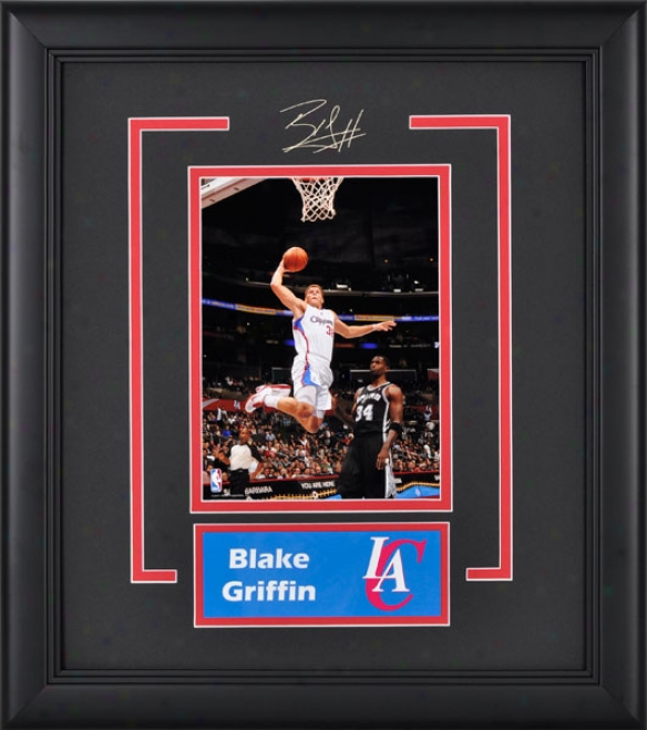 Blake Griffin Los Angeles Clippers Framed 6x8 Photograph Wity Facsimile Signature And Plate