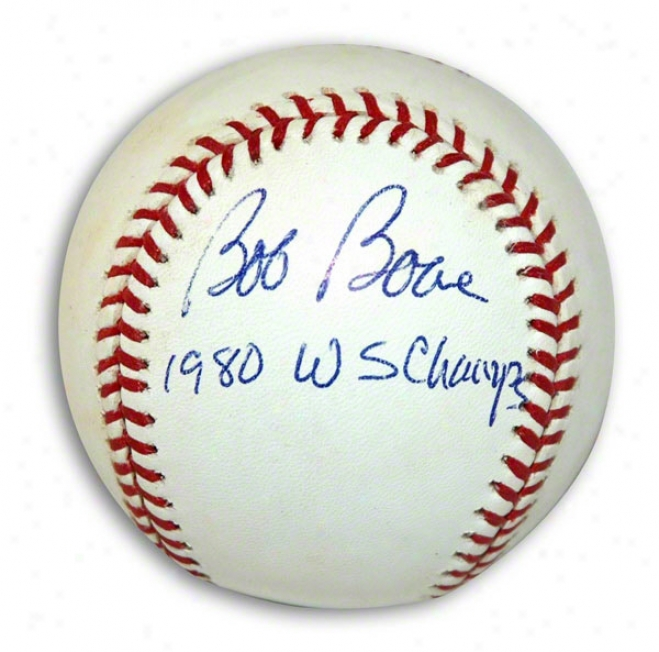 Bob Boone Autographed Mlb Baseball Inscribed 1980 Ws Champs