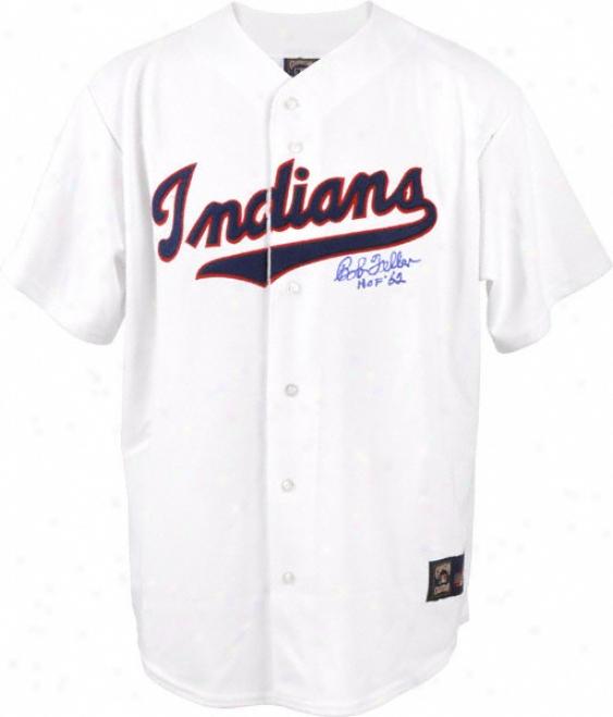 Bob Feller Autographed Jersey  Details: Cleveland Indians, Hof 62 Inscription