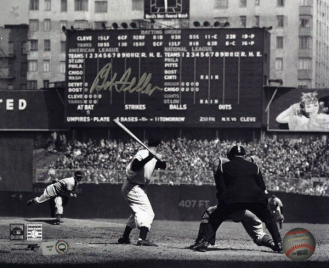 Bob Feller Cleveland Indians - At Bwt - Autographed 8x10 Photograph With Mlb Hologram