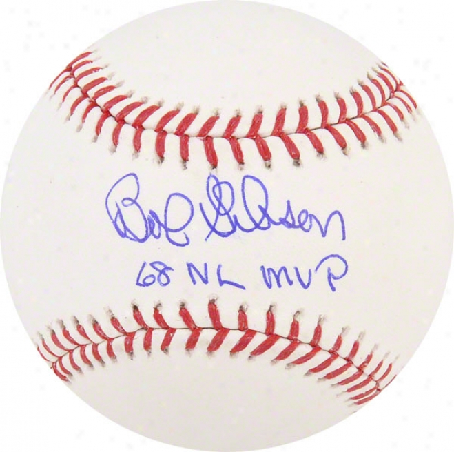 Angle  Gibson Autographed Baseball  Details: St. Louis Cardinals, With &quot68 Nl Mvp&quot Inscription