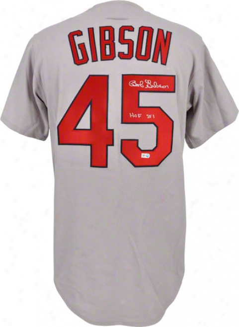 Bob Gibson Autographed Jersey  Details: St. Louis Cardinals, Grey, Throwback, With &quothof 81&quot Inscription
