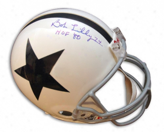 Bob Lilly Autographed Pro-line Helmet  Details: Dallas Cowboys, Throwback, Authentic Riddell Helmet, With ''hof 80'' Inscription