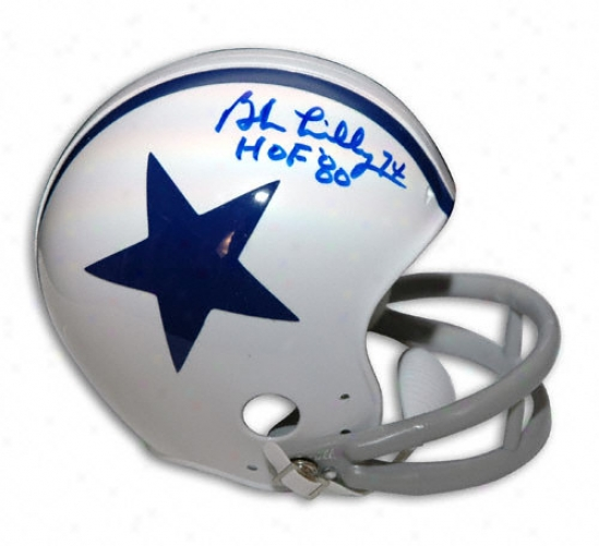Bob Lilly Dallas Cowboys Autographed Throwback Mini Hlmet With ''hof 80'' Inscription