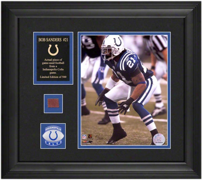 Bob Sanders Indianapolis Colts Framed 8x10 Photlgraph With oFotball Piece And Descriptive Plate