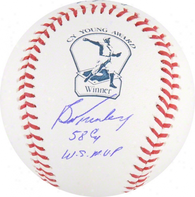 Bob Turley Autographed Cy Youung Logo Baseball  Details: 58 Cy, Ws Mvp Inscription