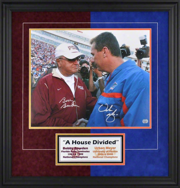 Bobby Bowden And Urban Meyer Autographed 16x20 Photograph  Details: Seminoles And Gators, &quota Lineage Divided&quot Two-tone With Suede