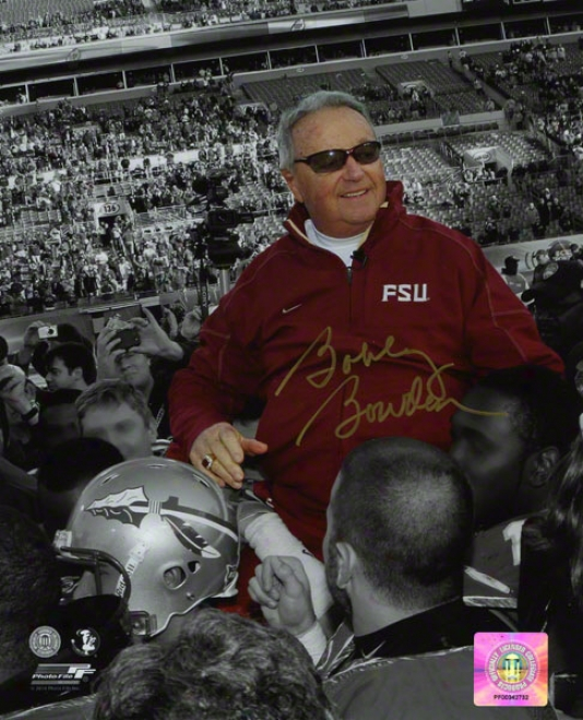 Bobby Bowden Autographed 8x10 Photograph  Details: Florida State Seminoles, Black And White, On Shoulders