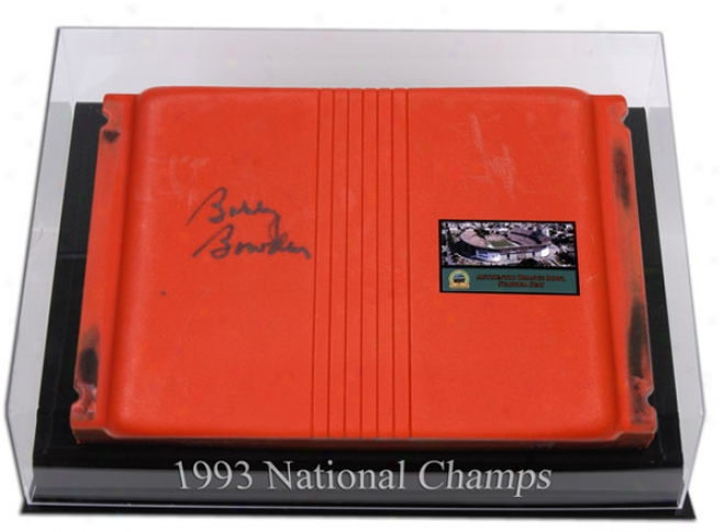Bobby Bowden Autographed Orange Hollow Stadium Seat With Logo Desktop Display Case