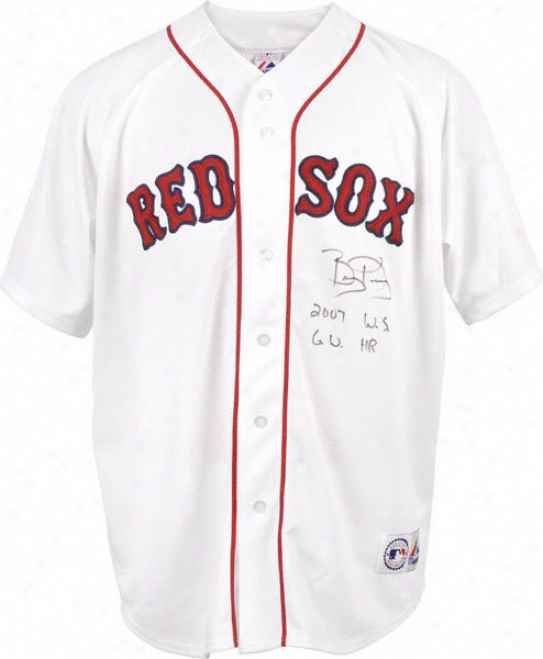 Bobby Kielty Autographed Jersey  Details: Boston Red Sox, 07 Ws Gw Hr Inacription