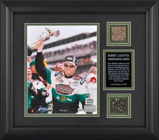 Bobby Labonte -2000 Brickyard 400- Framed 8x10 Photograph With Brick & Track