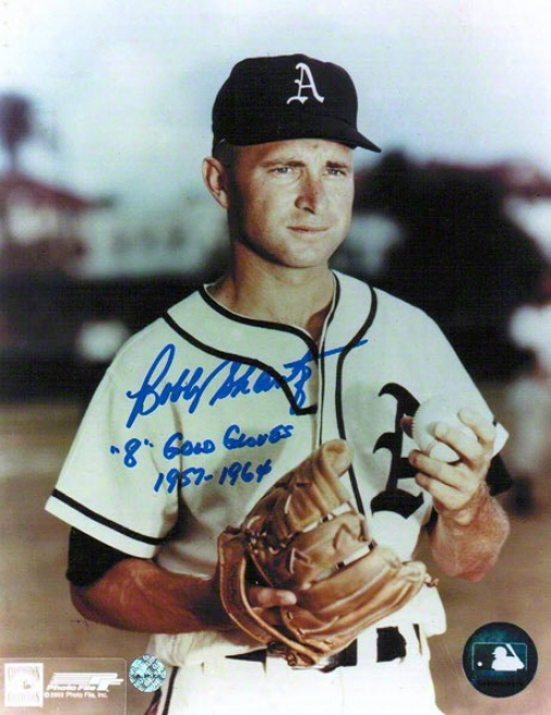 Bobby Shantz Autographed Kansas City Athletics 8x10 Photo Inscribed &quot8 Gold Gloves 1957-67&quot
