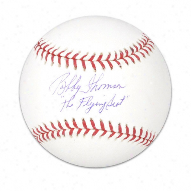 Bobby Thomson Autographed Baseball  Details: The Flying Scot Inscription