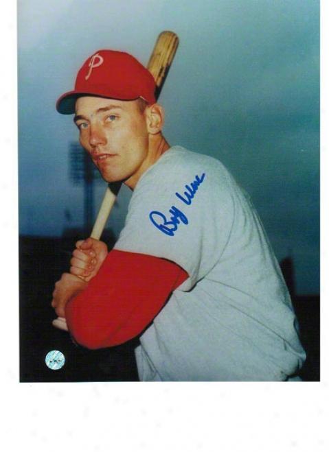 Bobby Wine Autographhed Philadelphia Phillies 8x10 Photo