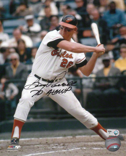 Boog Powell Baltmiore Orioles - Batting - Autographed 8x10 Photograph With 70 Al Mvp Inscription