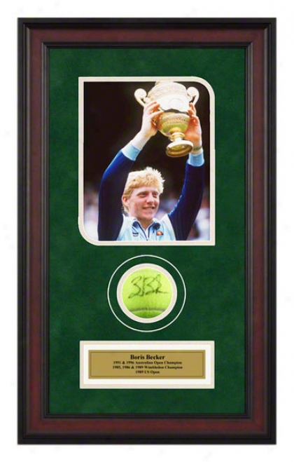 Boris Becker 1986 Wimbledon Championships Framed Autographed Tennis Ball With Photo