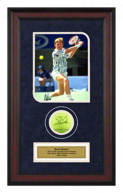Boris Becker 1991 Australian Opeh Framed Autographed Tennis Ball Wi5h Photo