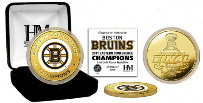 Boston Bruins 2011 Eastern Conefrence Champions 24kt Gold And Hue Coin