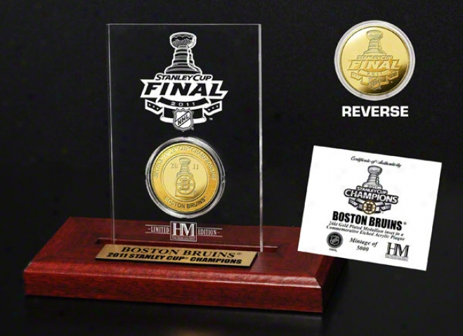 Boston Bruins 2011 Nhl Stanley Cup Cbampions 24kt Gold Coin Etched Acrylic