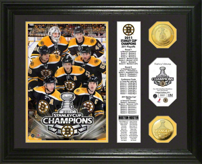Boston Bruins 2011 Nhl Stanley Cup Champions Banner 24kt Gold Coin Photo Mint