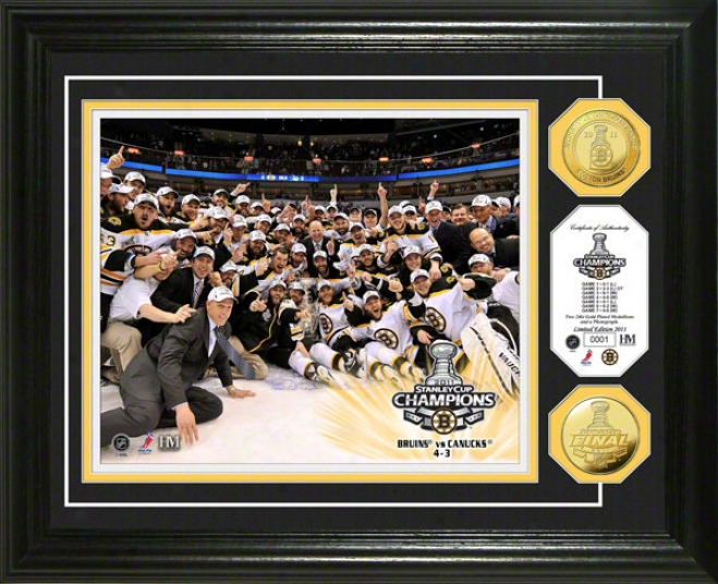 Boston Bruins 2011 Nhl Stanley Cup Champions Celebration 24kt Gold Coin Photo Mint