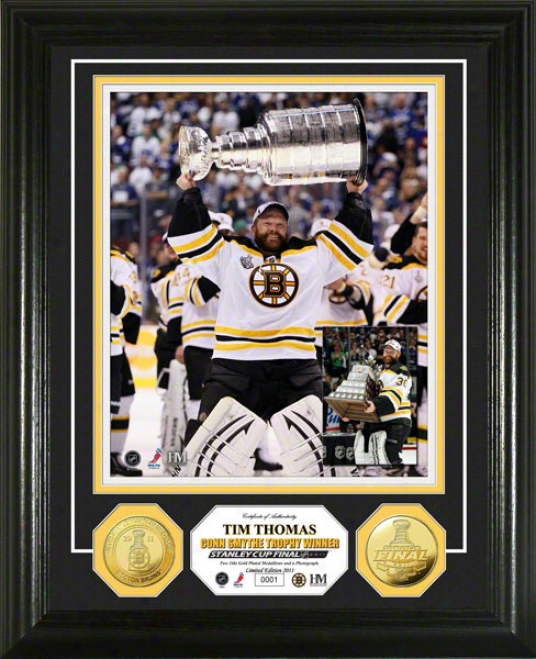Boston Bruins 2011 Nhl Stanley Cup Conn Smythe Trophy Winner 24kt Gold Coin Photo Mint