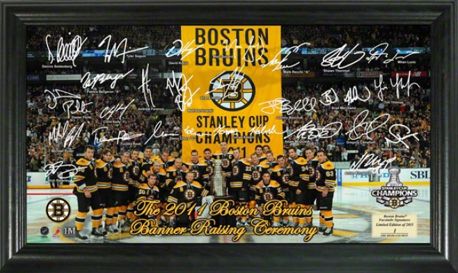 Boston Bruins 2011 Stanley Cup Banner Raising Signature Rink