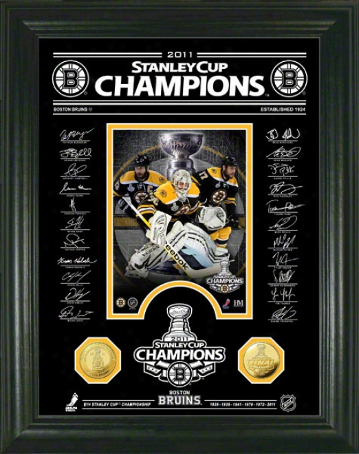 Boston Bruins 2011 Stanley Cup Champions Signature Etched 24kt Good Coin Photo Mint