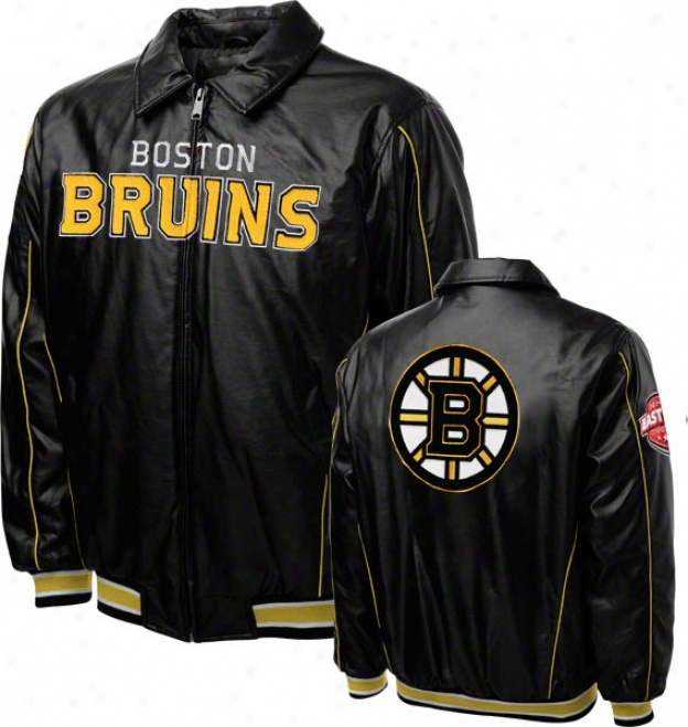 Boston Bruins Faux Leather Full-zip Varsity Jacket