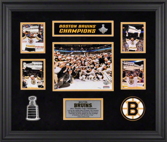 Boston Bruins Framed 5-photograph 2010-2011 Stanley Cup Champions Victory Collage