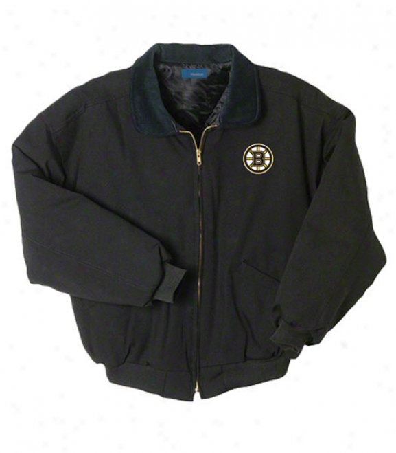 Boston Bruins Jacket: Negro Reebok Saginaw Jacket