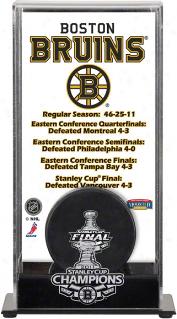 Boston Bruins Logo Puck Dis;lay Case  Details: 2011 Stanley Cup Championship