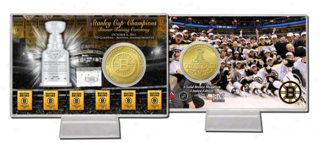 Boston Bruins Six Time Stanley Cup Champions Bronze Coin Card
