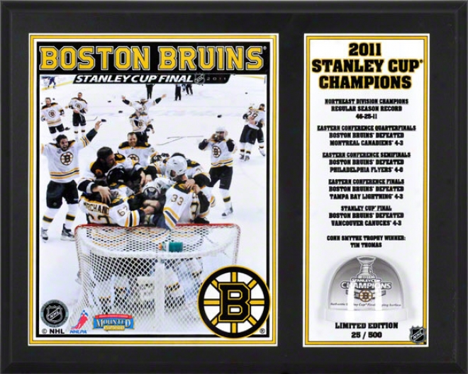 Boston Bruins Sublimated 12x15 Plaque  Details: Boston Bruins, 2011 Nhl Stanley Cup Champions, With Game Used Ice