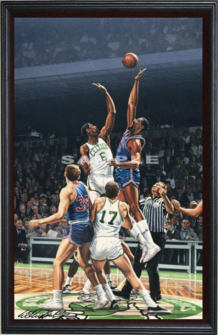 Boston Celtics/philadelphia 76ers - &quotjumpball&quot - Oversized - Framed Giclee