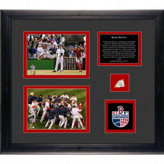 Boston Red Sox 2007 World Series Champs Framed Display Collectible With 2 4x6 Photos, Game Used Playoff Baseball And Team Medallion