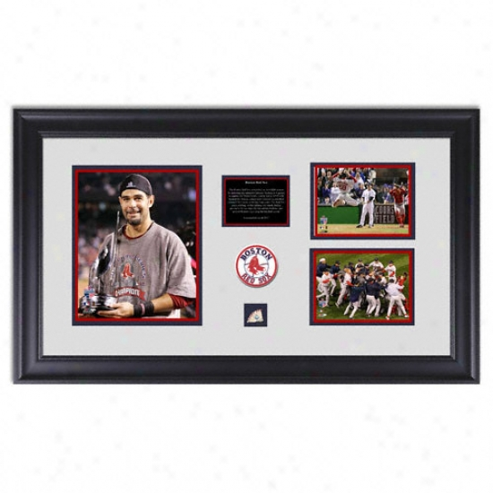 Boston Red Sox 2007 World Series Champs Framed Display With 8x10 Mvp Photograph, 2 4x6 World Series Champs Photos Game Used Playoff Ball Piece And Team Patch
