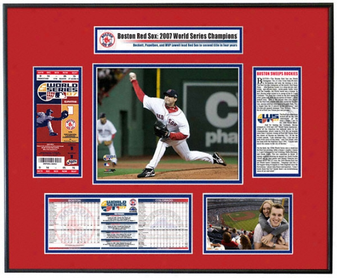Boston Red Sox 2007 Life Series Champs - Game 1 Winner Josh Beckett - Ticket Frame