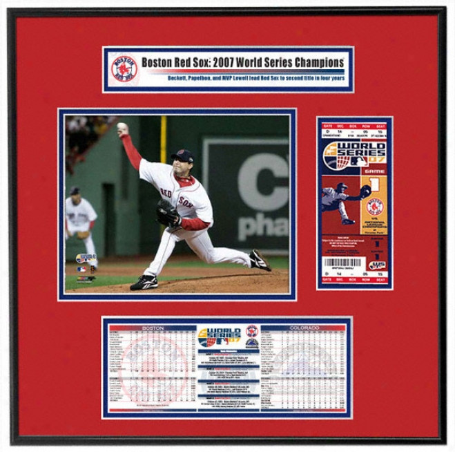 Boston Red Sox 2007 Natural order Series Cgamps - Game 1 Winner Josh Beckett - Ticket Frame Jr.