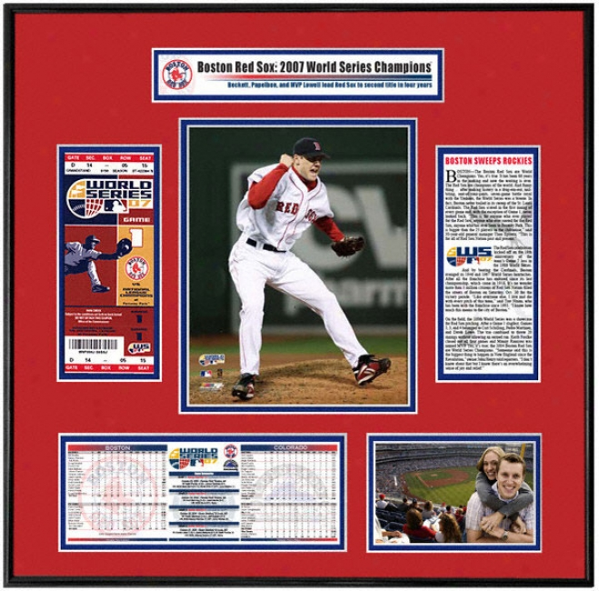 Boston Red Sox 2007 World Series Champs - Game 2 Jonathan Papelbon - Tocket Frame
