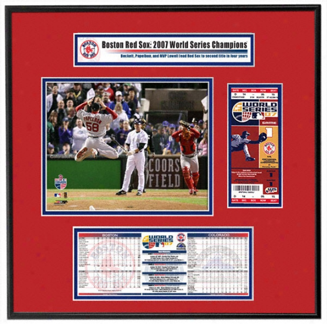 Boston Red Sox 2007 World Series Champs - Papelbon/varitek Celebration - Ticket Frame Jr.