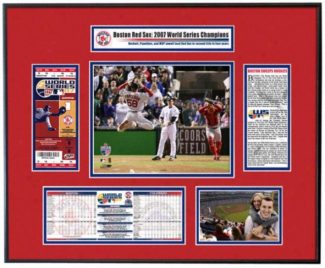 Boston Red Sox 2007 World Series Champs - Papelbon/varitek Celebration - Ticket Frame