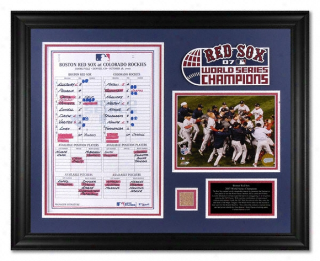 Boston Red Sox - 2007 World Series Game 4 - Framed Photograph With Line Up Card, Game Used Dirt And Team Logo