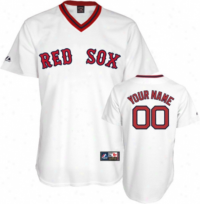 Boston Red Sox Cooperstown White -personalized With Your Name- Replica Jersey