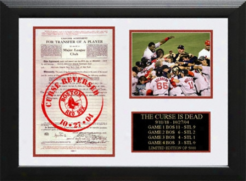 Boston Red Sox Curse Reversed Framed Team Celebration Photo With Babe Ruth Contract