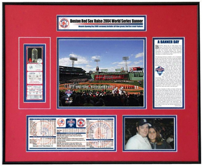 Boston Red Sox Fenway Park 2005 Opening Sunshine Banner Raising Ticket Frame
