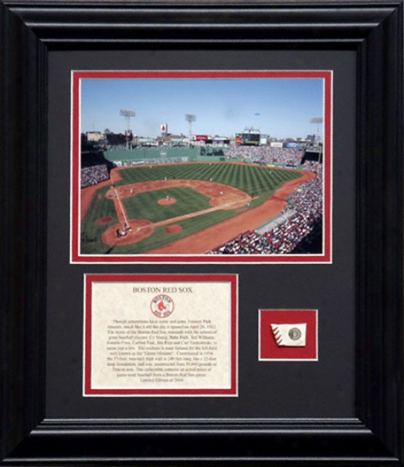 Boston Red Sox Framed 6x8 Stadium Photo With Made of ~ Used Baseball And Descriptive Plate