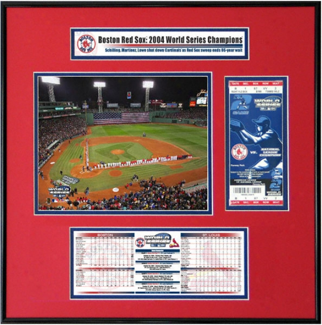Boston Red Sox - Game 1 Opwning Ceremony - 2004 World Series Ticket Frame Jr.